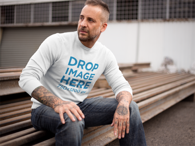 Clothing Mockup of a Middle-Aged Man Wearing a Crewneck 9364
