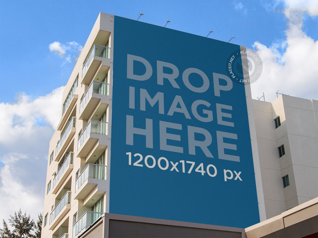 Billboard Mockup on the Side of an Apartment Building a10823