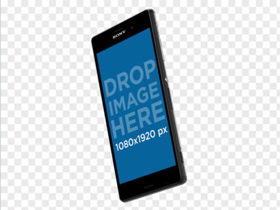 Angled Android Mockup of Phone With Transparent Background a11554