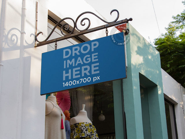 Banner Mockup Outside a Vintage Boutique a10826