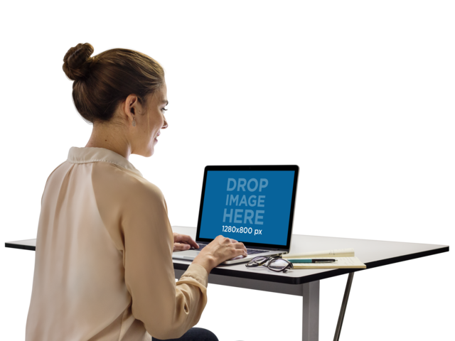 MacBook Mockup Template of a Woman Typing a11560