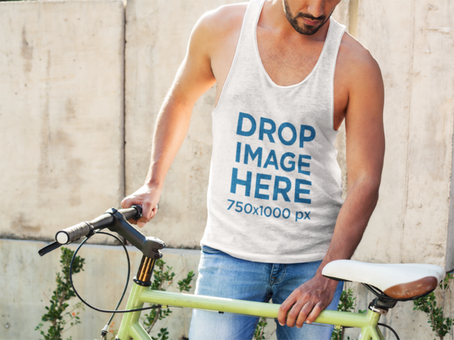Sleeveless Tee Mockup of a Man with His Bike a7830