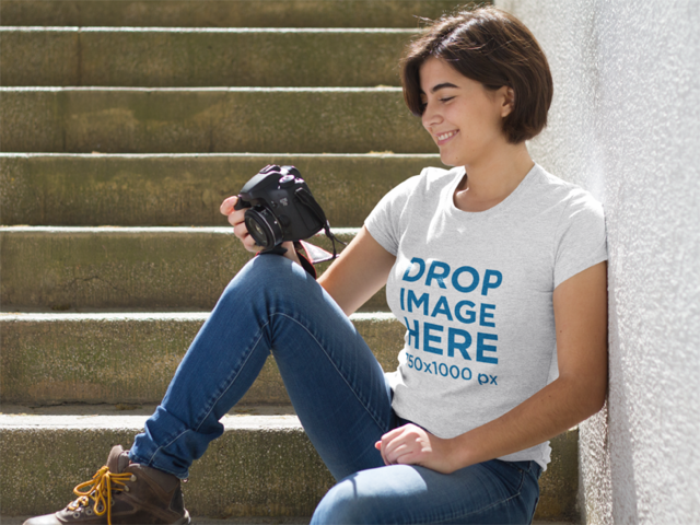T-Shirt Mockup Featuring a Photographer Smiling a8678