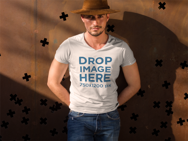 Tshirt Mockup of a Man Wearing Blue Jeans and a Hat a8901