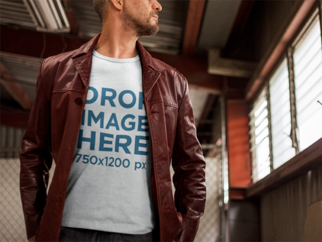 Mature Man Wearing a T-Shirt Mockup in an Urban Setting a9376