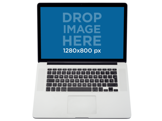 Top Shot MacBook Mockup Over a Transparent Background a11598