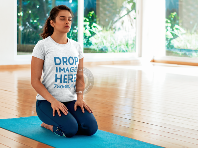 T-Shirt Mockup Template of a Woman Doing Yoga 8605