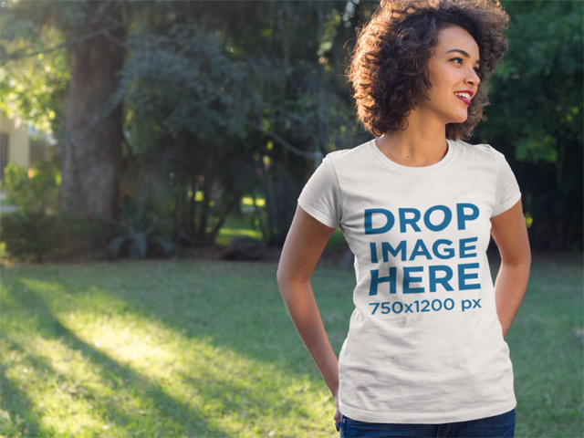 Apparel Mockup of a Young Black Woman Wearing a T-Shirt a8342