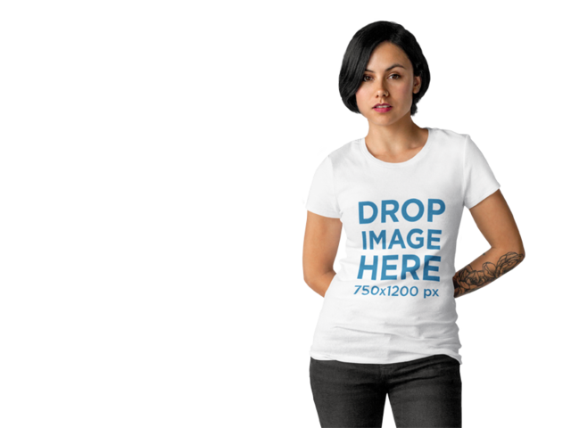 T-Shirt Mockup Template of a Tattooed Woman Over Transparent Background a10128