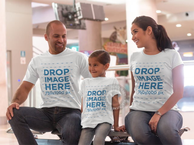 T-Shirt Mockup Template Featuring a Family at the Mall 8040