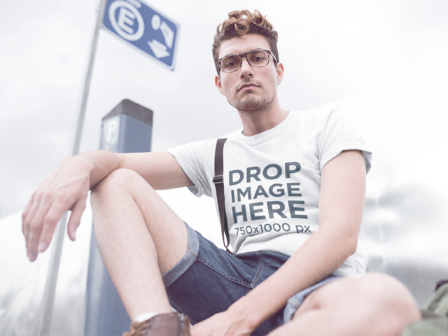 T-Shirt Mockup of a Hipster Guy Wearing Denim Shorts a11531