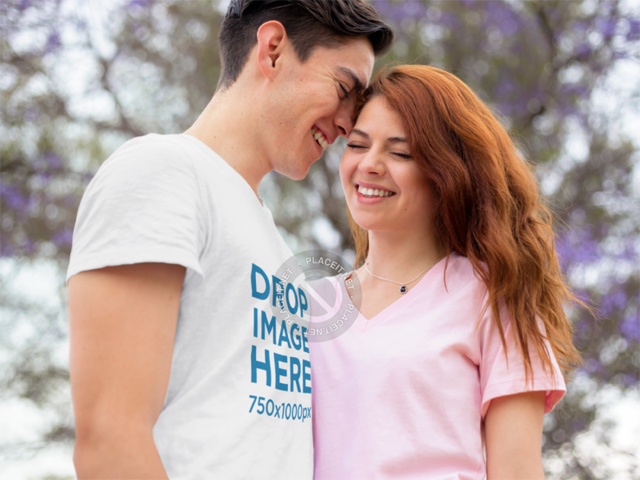 Young Couple Hugging Outdoors T-Shirt Mockup a9389