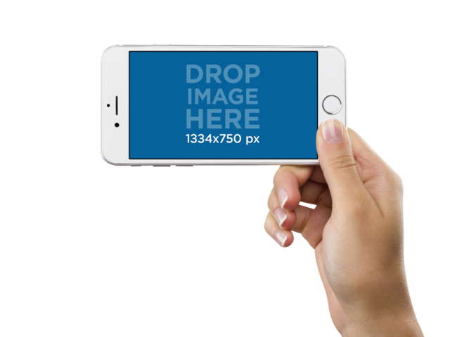 Mockup of a White iPhone 6s Held in Lanscape Position Over a PNG Background by a Woman