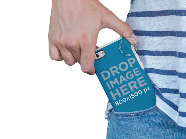 iPhone 6 Case Mockup in a Woman's Pocket a10206