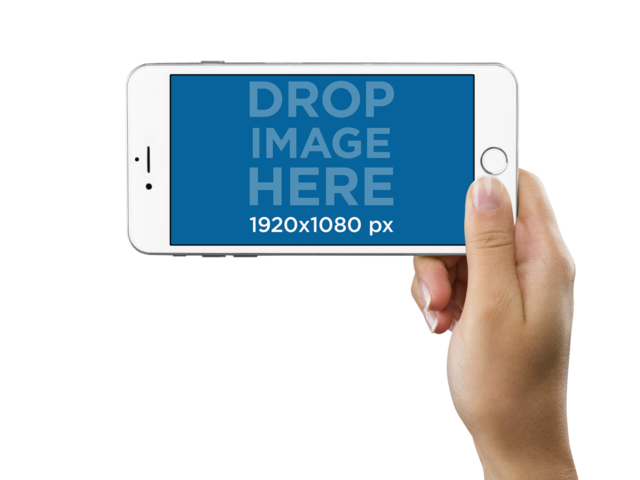 iPhone 6 Plus in Landscape Position Held by a Woman Over a PNG Background Mockup