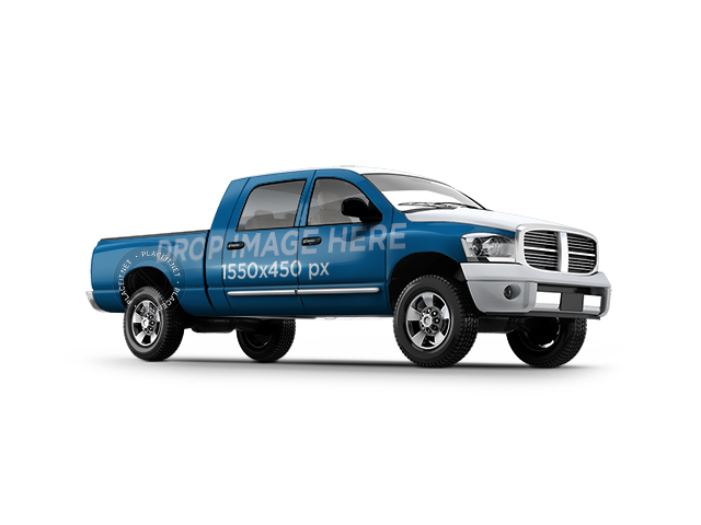 Full Pick Up Truck Car Wrap Mockup Over a Transparent Background 11655