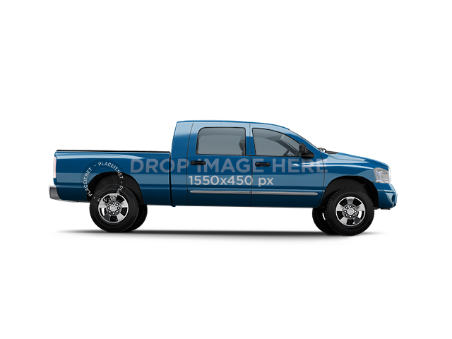 Right View of Pickup Truck Car Wrap Mockup 11654