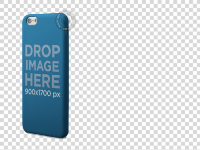 Standing iPhone Case Mockup Over a Transparent Background a10288
