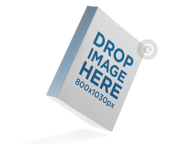Thick Paperback Book Mockup Floating Over a PNG Background a11617