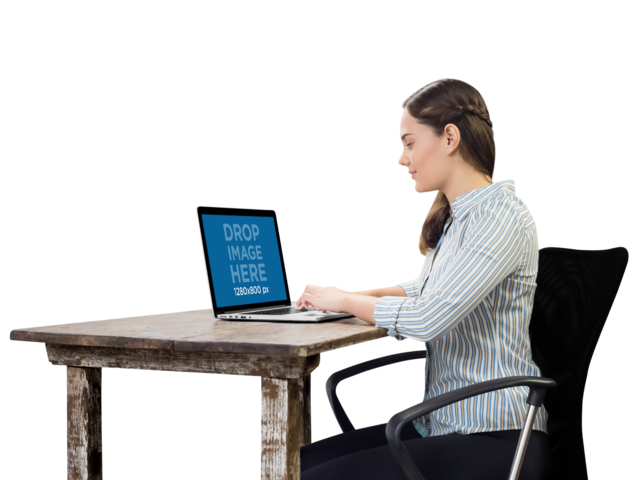 PNG MacBook Mockup Used by Woman at Her Desk