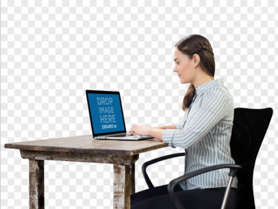 PNG MacBook Mockup Used by Woman at Her Desk a11689