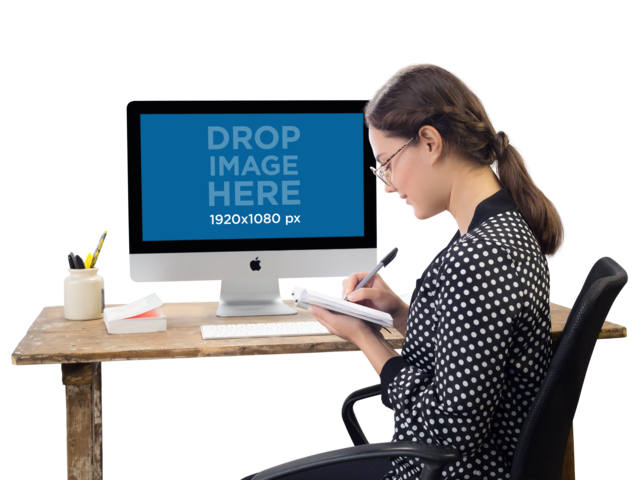 PNG Mockup of an iMac on a Woman's Desk