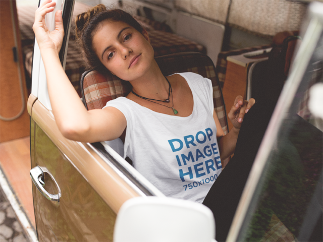 Urban Style Woman Wearing a Tee in a Minivan Mockup a11587
