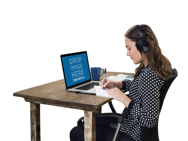 Woman with Headphones Working on Her MacBook Pro Mockup