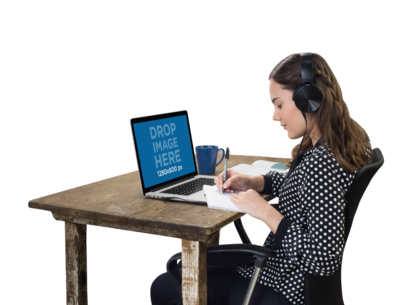 Woman with Headphones Working on Her MacBook Pro Mockup a11691