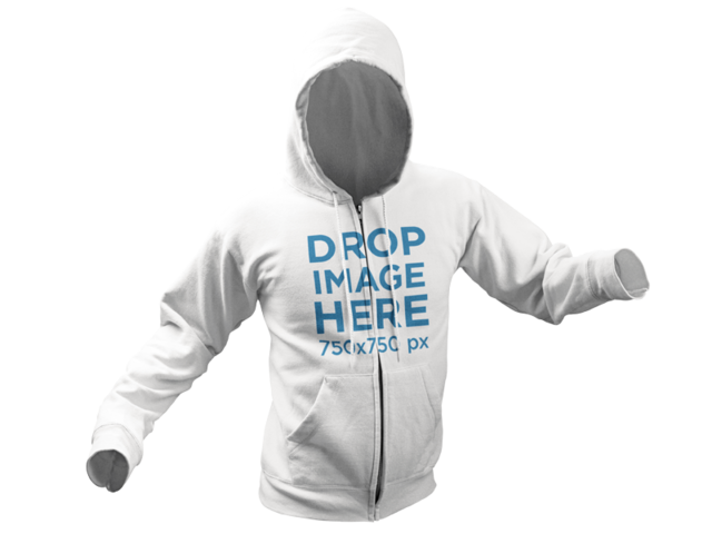 Hoodie Invisible Model Mockup Over a PNG Background 10658