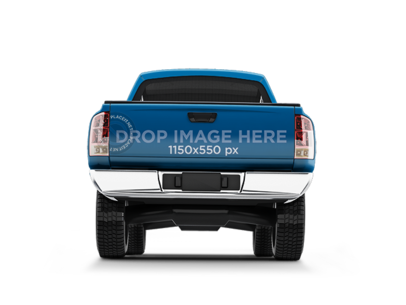 PNG Rear View Car Wrap Mockup of a Pickup Truck 11658