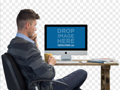 iMac PNG Mockup Featuring a Young Man With His Coffee a11726