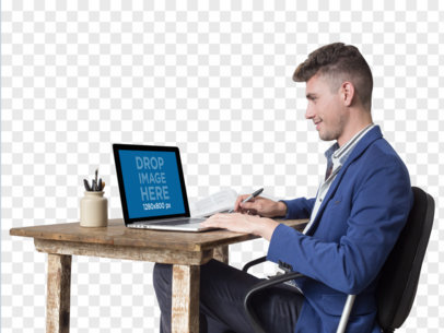 Man Working on His Macbook PNG Mockup a11730