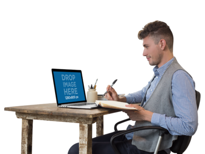 PNG MacBook Pro Mockup of a Man Writing in His Notebook a11720