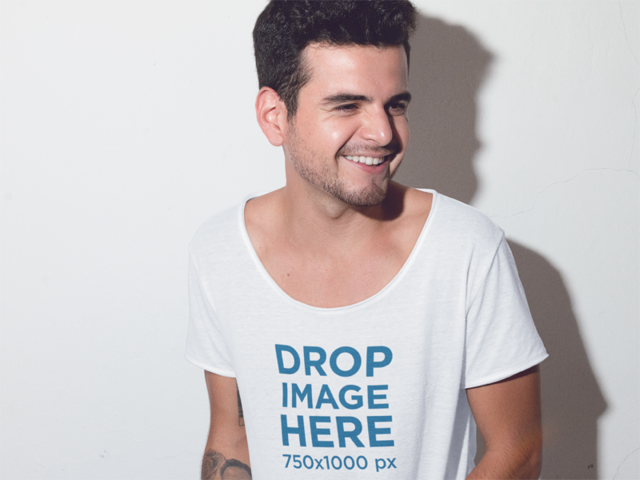 Smiling Tattooed Guy Wearing a Tee Mockup a11674