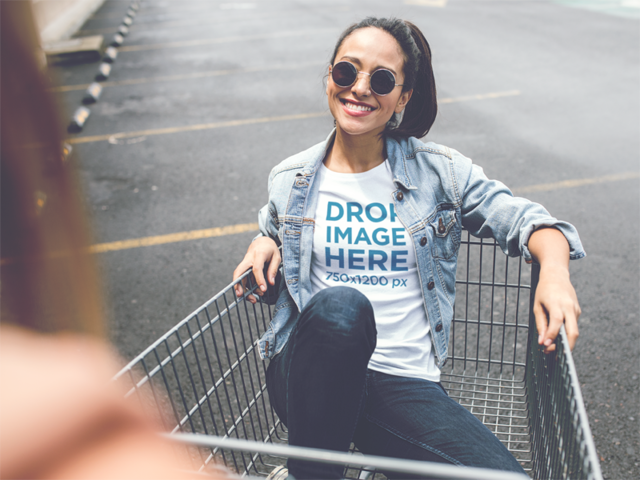 Round Neck T-Shirt Mockup of a Trendy Girl in a Shopping Cart a11732