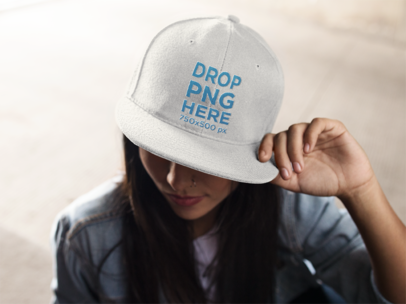 Snapback Hat Mockup of a Trendy Girl 11712a