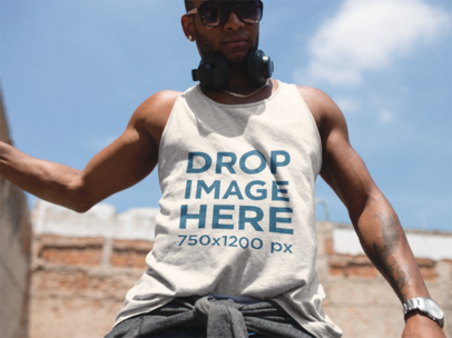 Men's Tank Top Mockup of a Black Guy With Headphones a11745