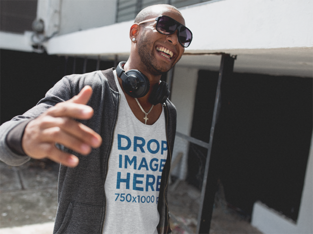 Smiling Urban Style Black Guy Wearing a Tank Top Mockup a11742