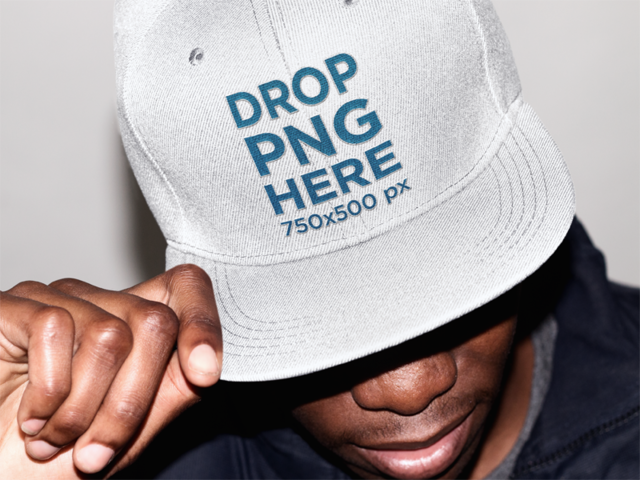 Snapback Hat Mockup of a Stylish Black Guy 11778a