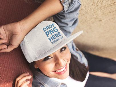 Smiling Young Hispanic Girl Wearing a Snapback Hat Mockup 11710a