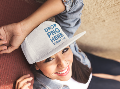 Smiling Young Hispanic Girl Wearing a Snapback Hat Mockup 11710a