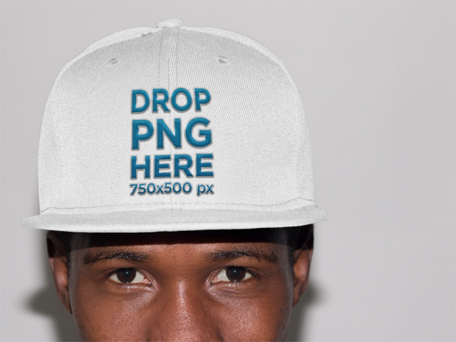 Trendy Black Guy in a Studio Wearing a Snapback Mockup a11777