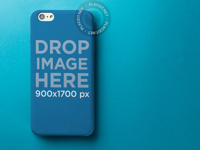 iPhone 6 Plus Case Mockup Over a Blue Background a11794