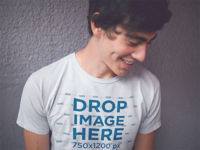Trendy Guy Wearing a Tee Smiling and Looking Away Mockup 11793