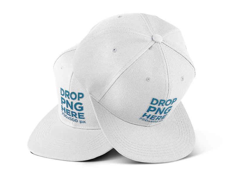 two snapbacks on a transparent background