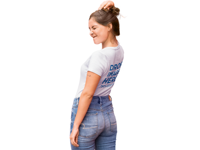PNG T-Shirt Mockup of a Trendy Girl Winking b11850