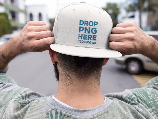 Backwards Snapback Hat Mockup of a Trendy Guy a11840