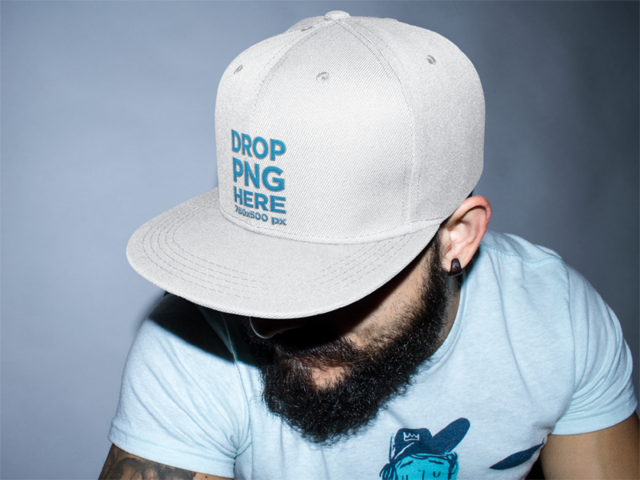 Snapback Hat Mockup of a Guy with a Beard a11843