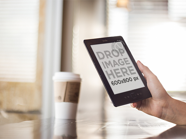 Amazon Kindle Mockup at a Coffee Shop a11834 print